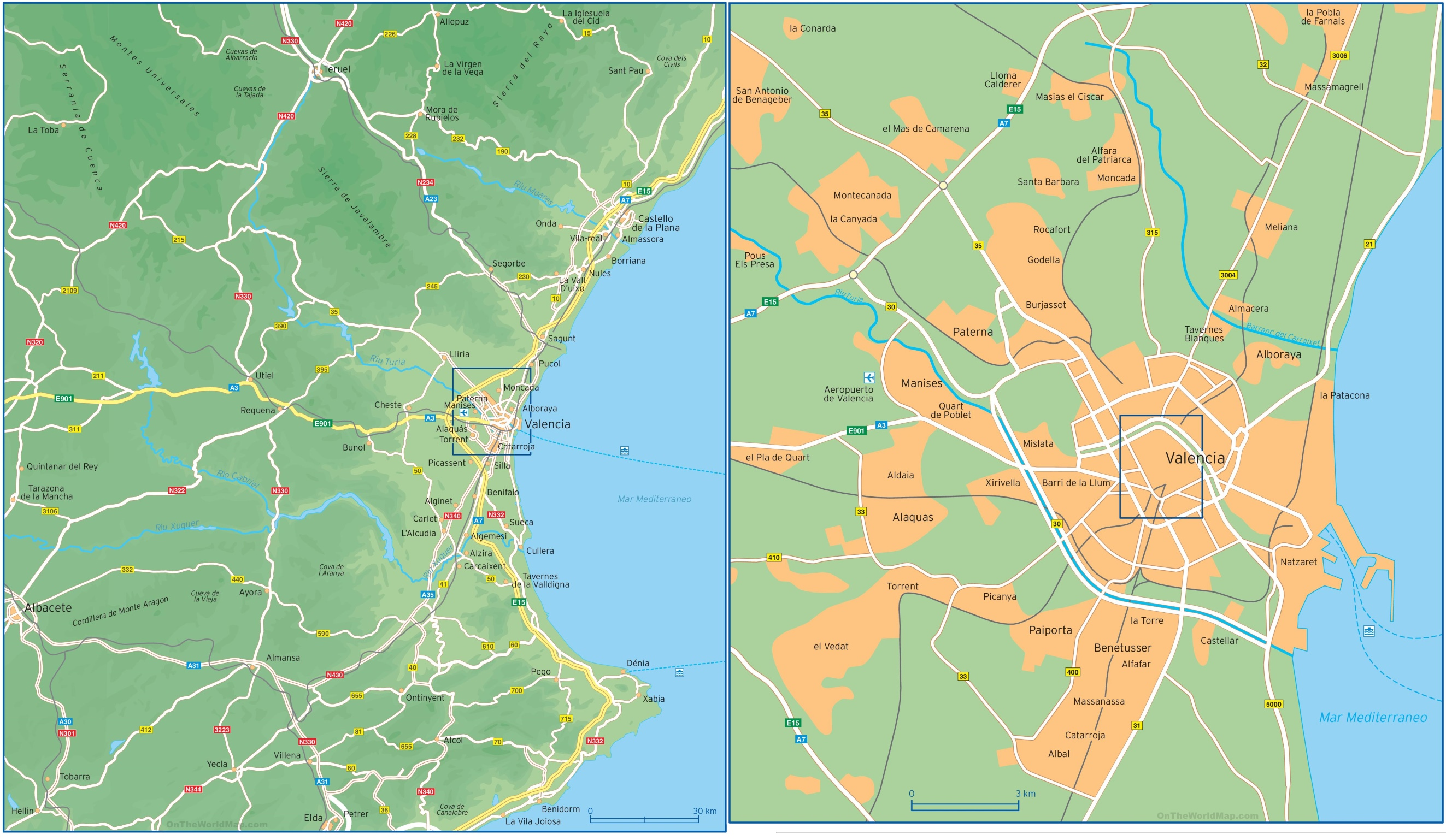 Map of surroundings of Valencia