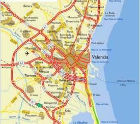 Mapa de carreteras del área de Valencia