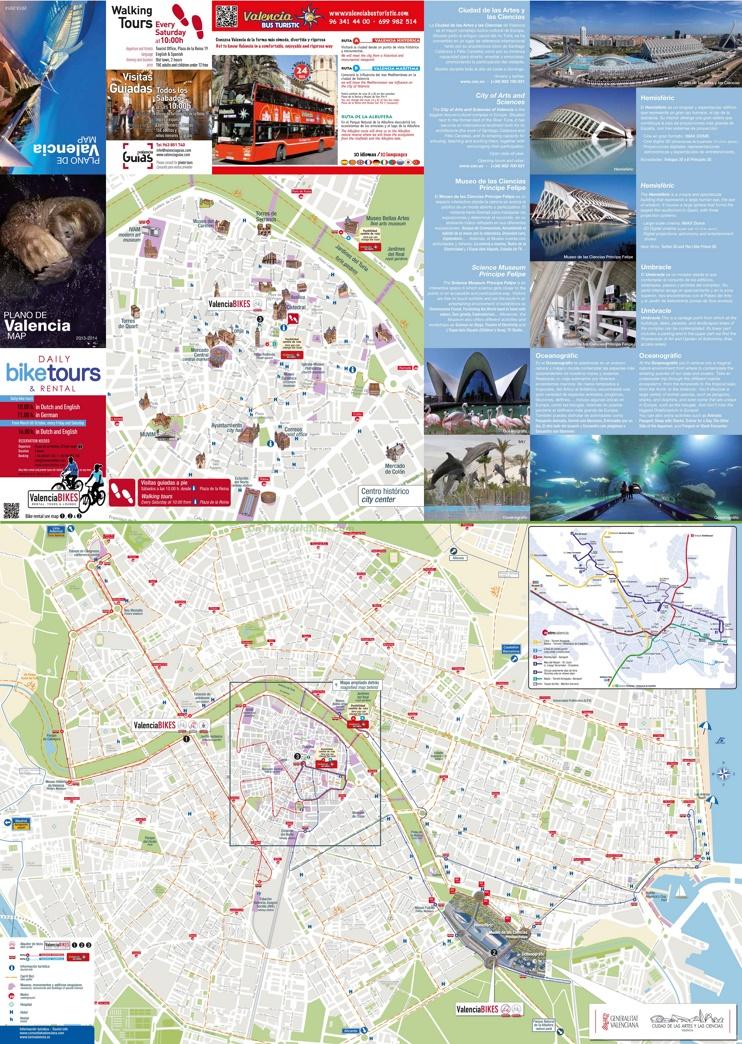 Valencia - Mapa de hoteles y atracciones turísticas