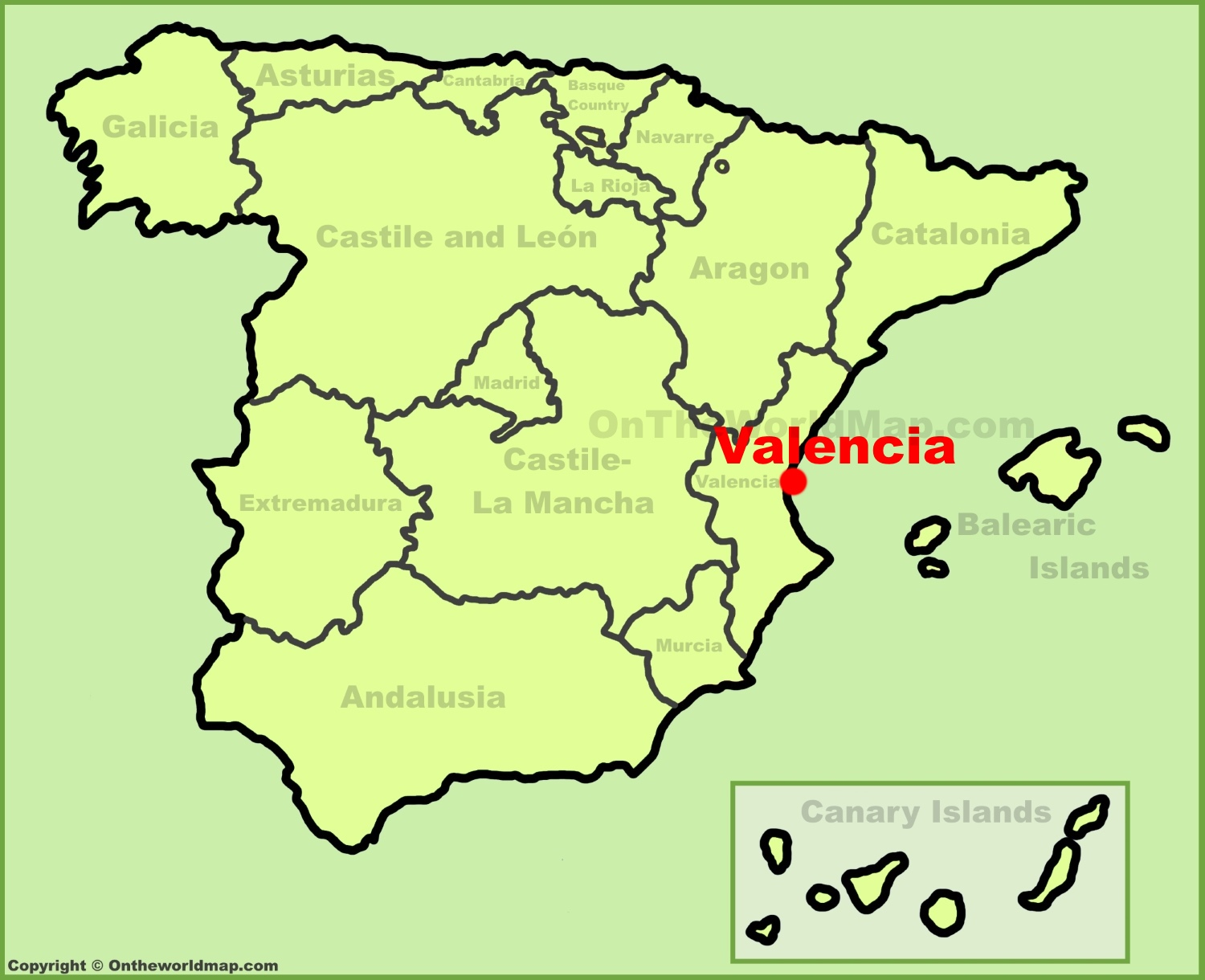 Valencia location on the Spain map
