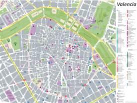 Mapa del casco antiguo de Valencia con atracciones turísticas