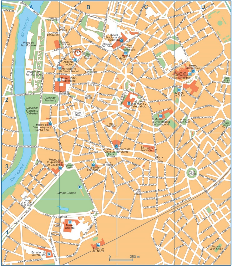 Valladolid - Mapa del centro de la ciudad