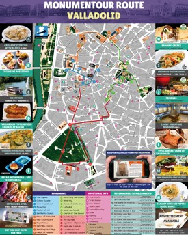 Valladolid hotels and sightseeings map