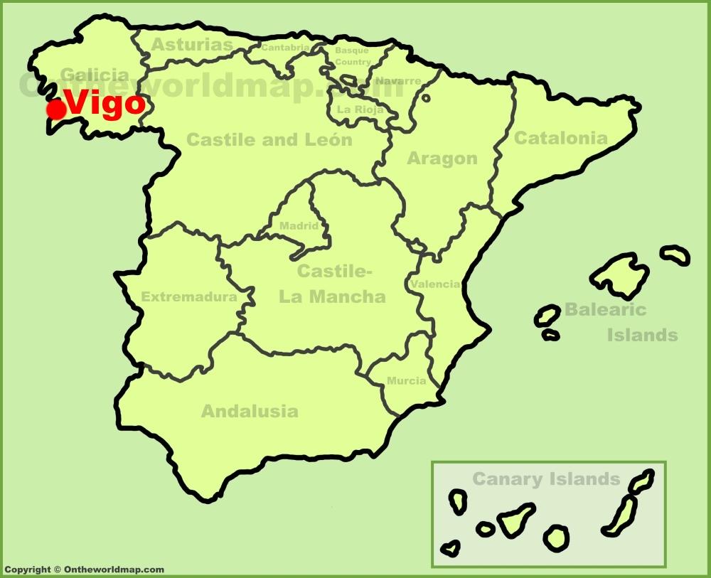 Map Of Spain Vigo.Vigo Location On The Spain Map