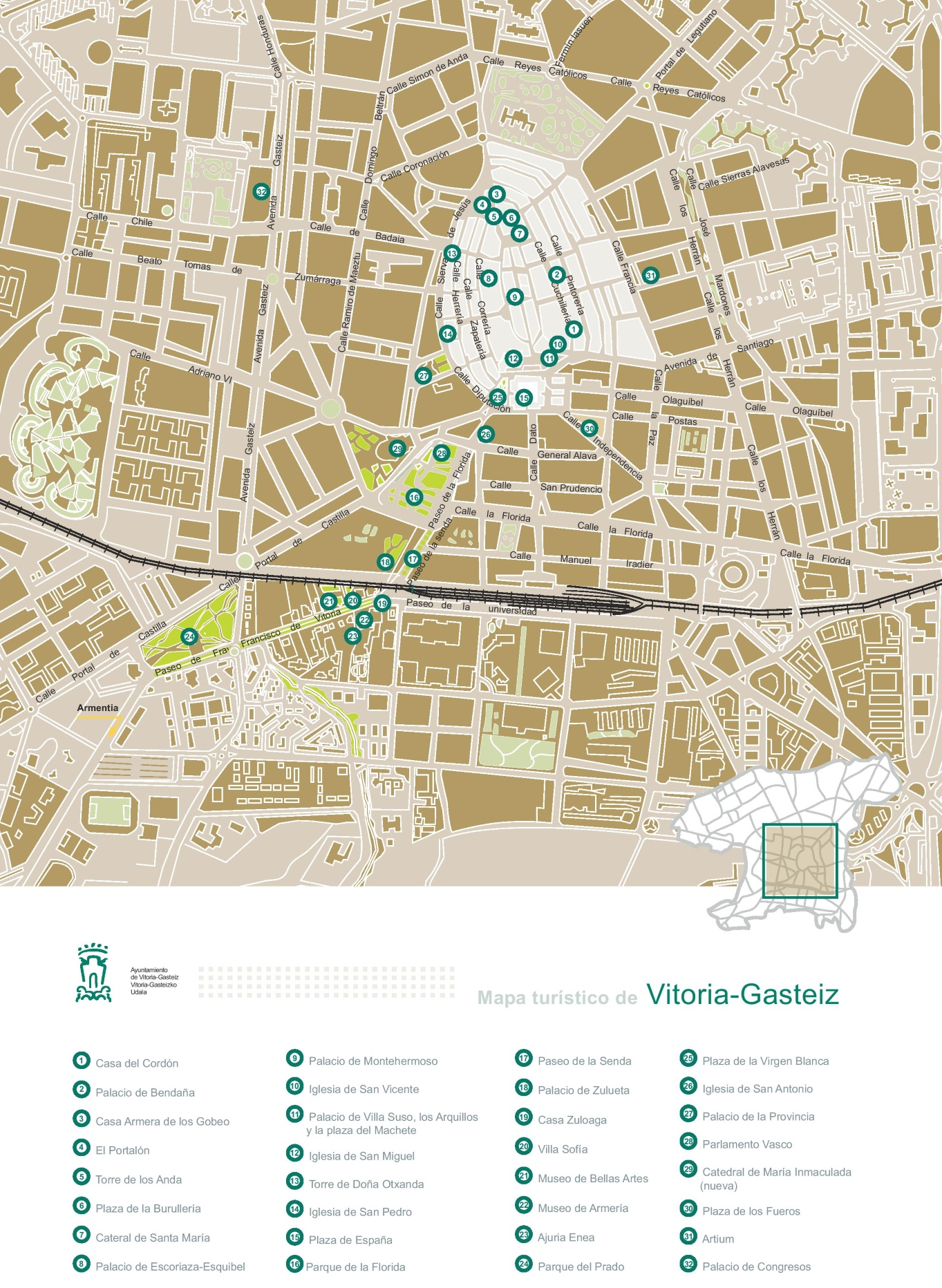 VitoriaGasteiz sightseeing map