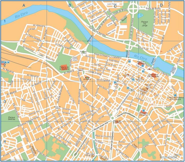 Zaragoza - Mapa del centro de la ciudad