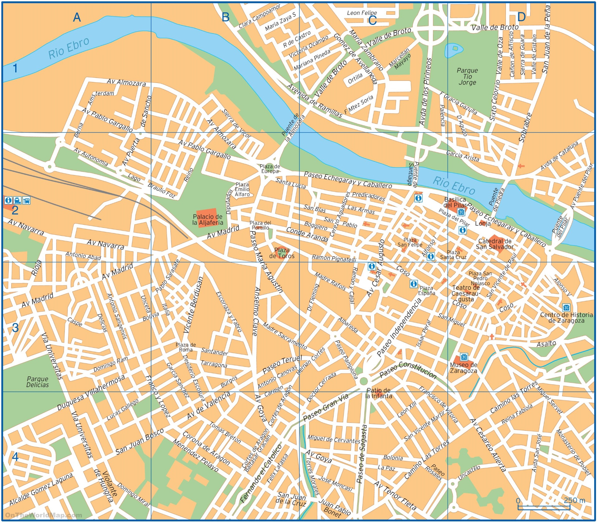 Zaragoza city center map