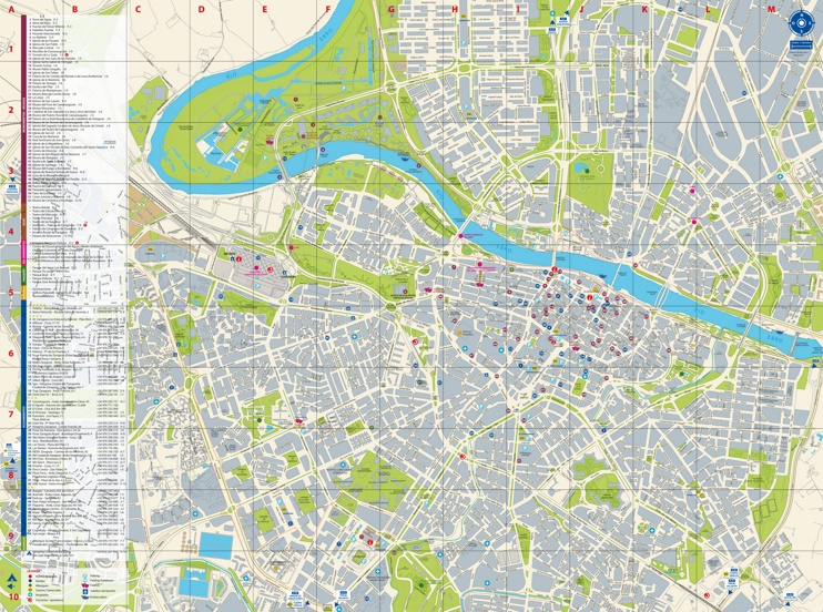 Zaragoza hotels and sightseeings map