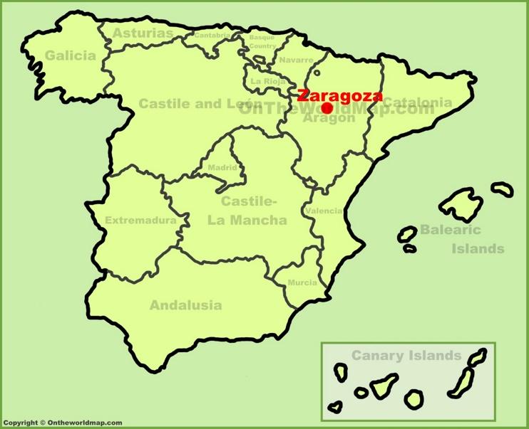 Zaragoza en el mapa de España
