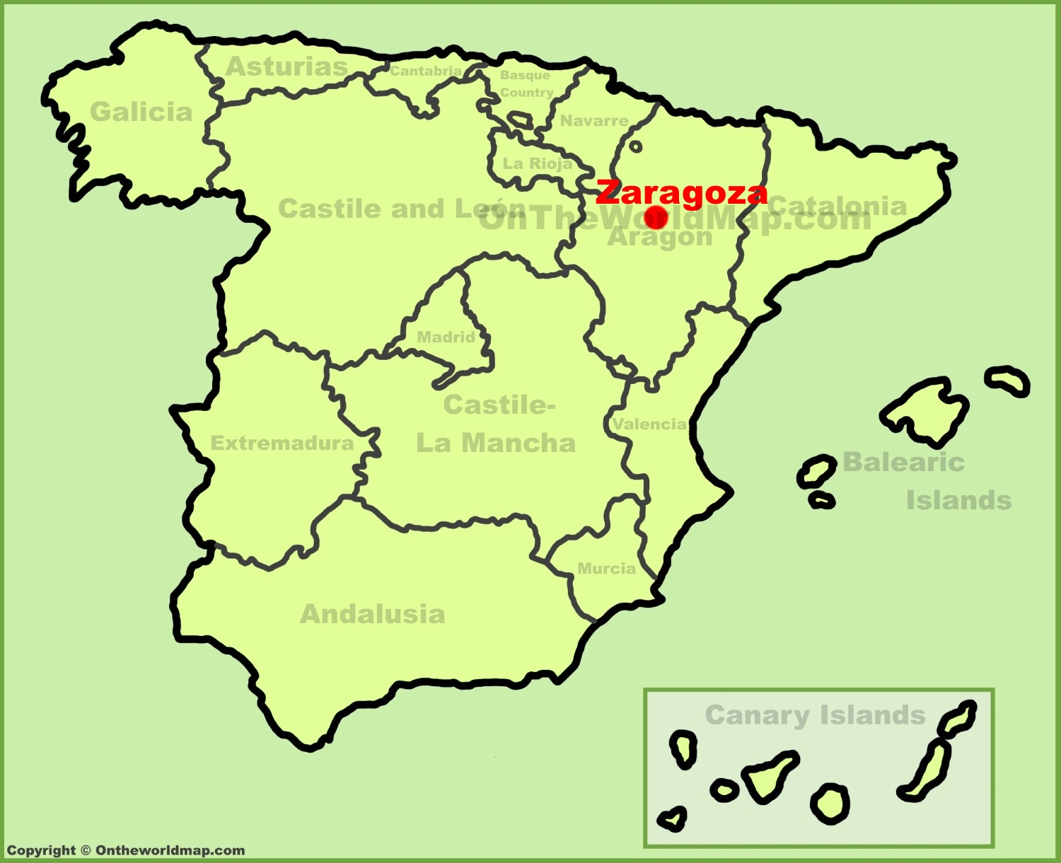zaragoza location on the spain map