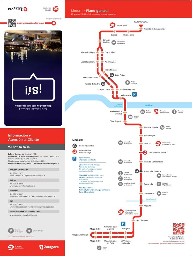 Zaragoza tram map