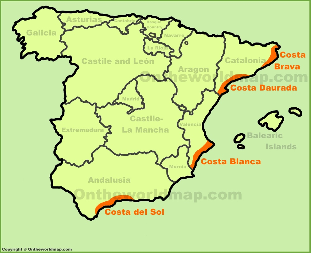 Costa Brava Map Of Spain.The Costas Of Spain Best Costas On The Spain Map