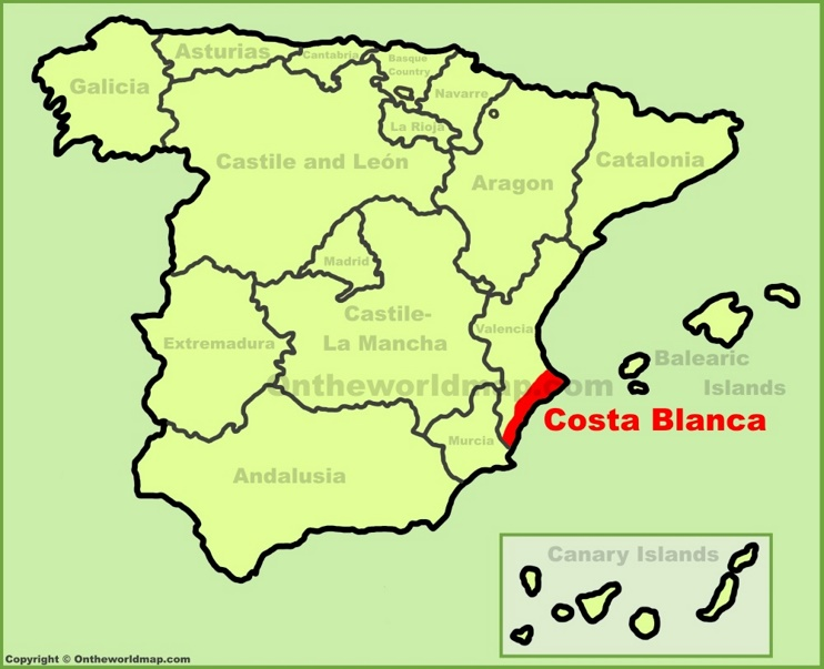 Costa Blanca location on the Spain map
