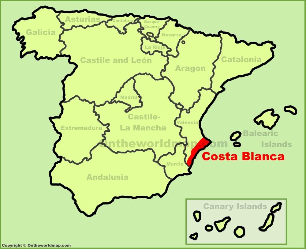 Map Of Costa Blanca Costa Blanca location on the Spain map Map Of Costa Blanca