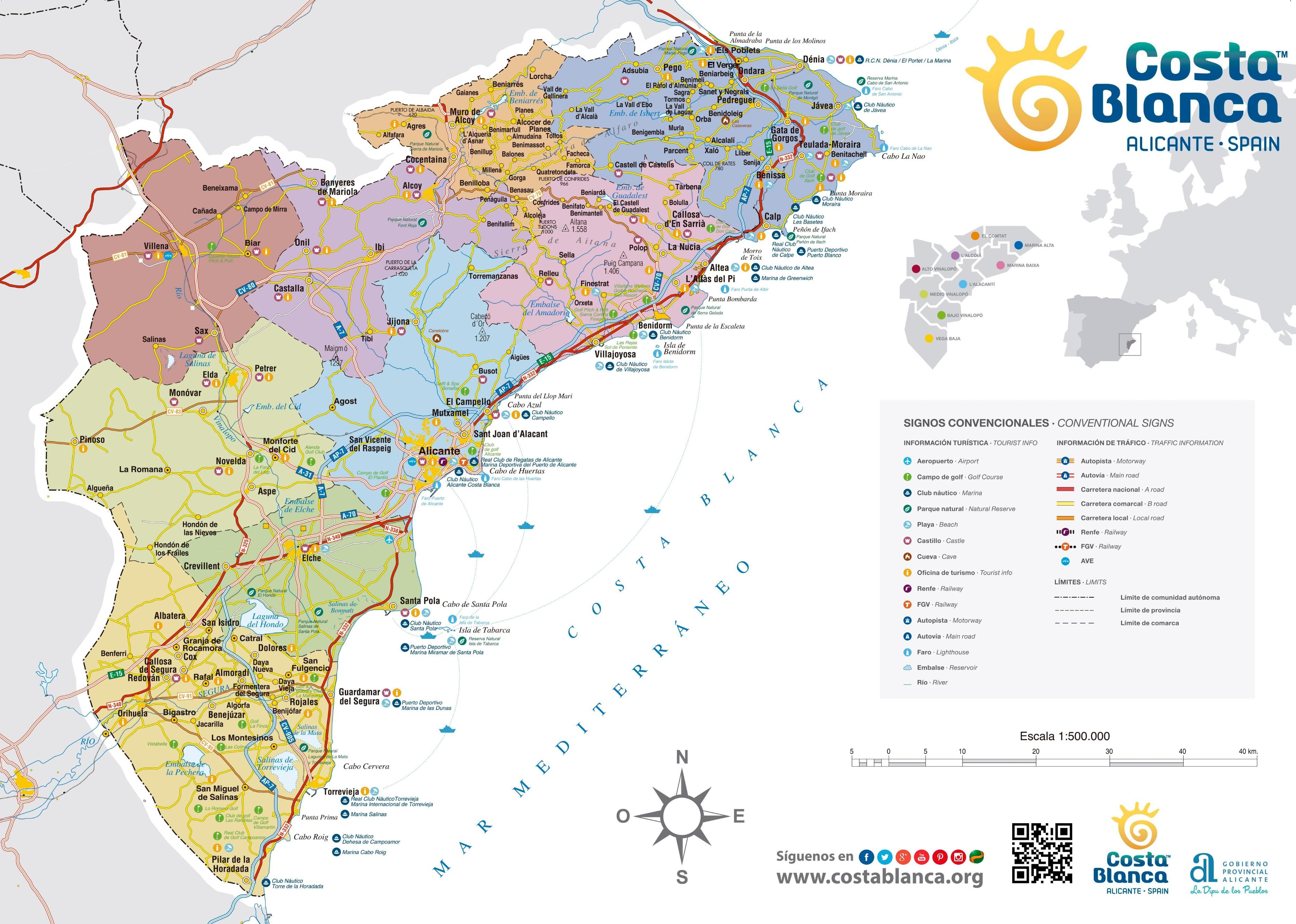 Map Of Costa Blanca Costa Blanca tourist map Map Of Costa Blanca