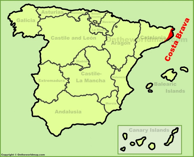Costa Brava location on the Spain map