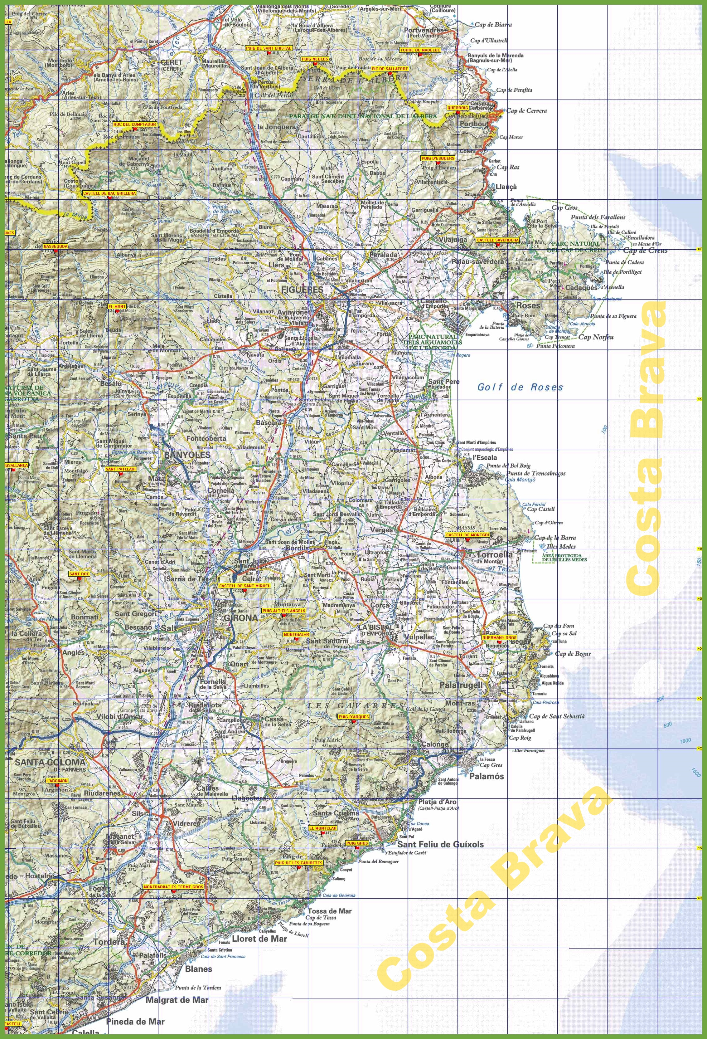 Map Of Spain Coast.Costa Brava Tourist Map