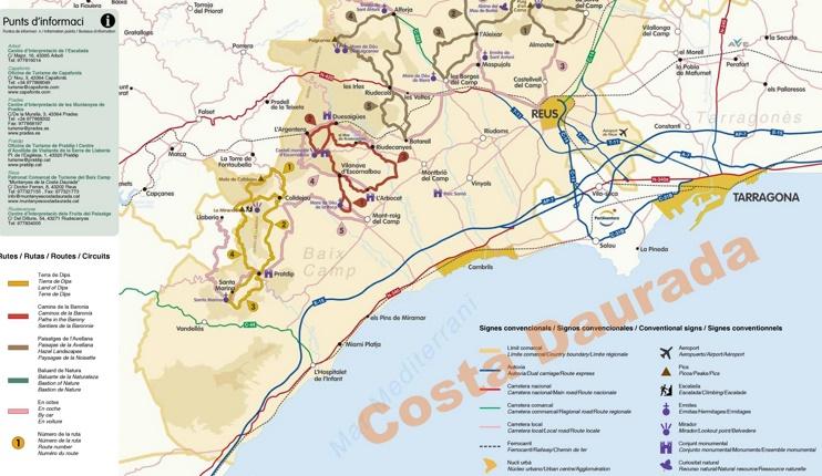 Costa Daurada sightseeing map