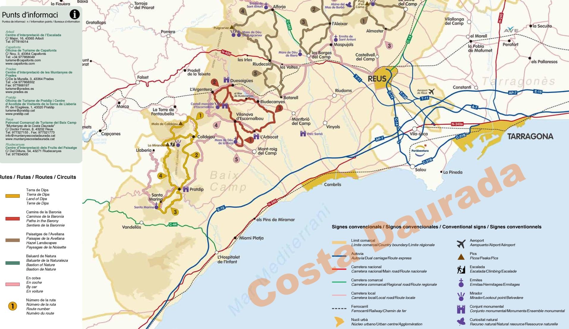 Costa Daurada Maps Spain Maps of Costa Daurada
