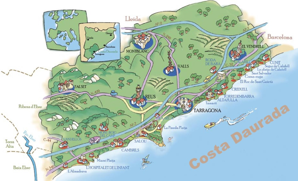 Map Of Costa Dorada Costa Daurada Maps | Spain | Maps of Costa Daurada