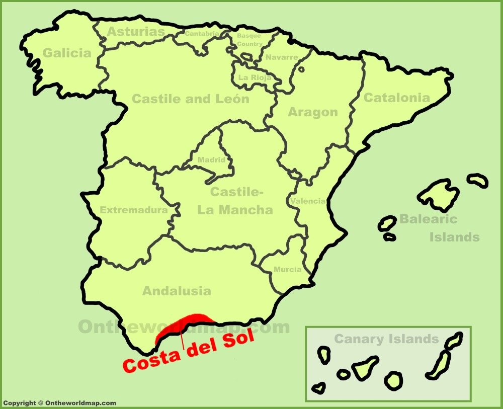 Costa del Sol location on the Spain map
