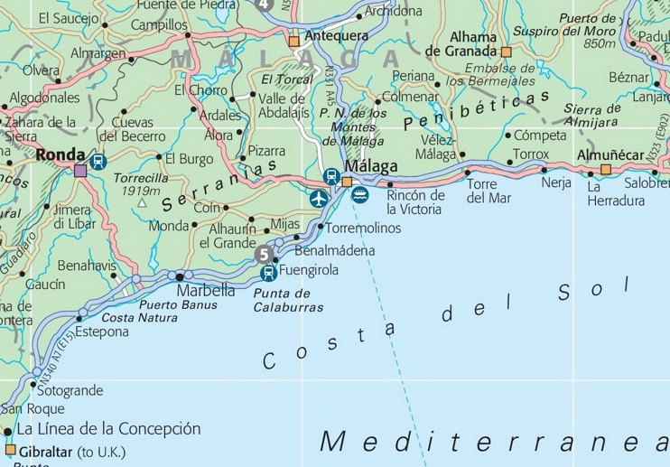Map of Costa del Sol with cities and towns