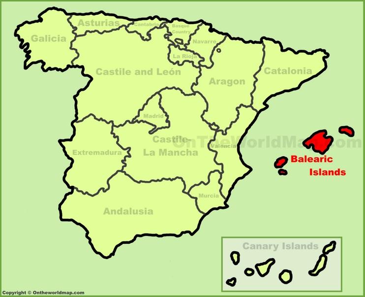 Islas Baleares en el mapa de España