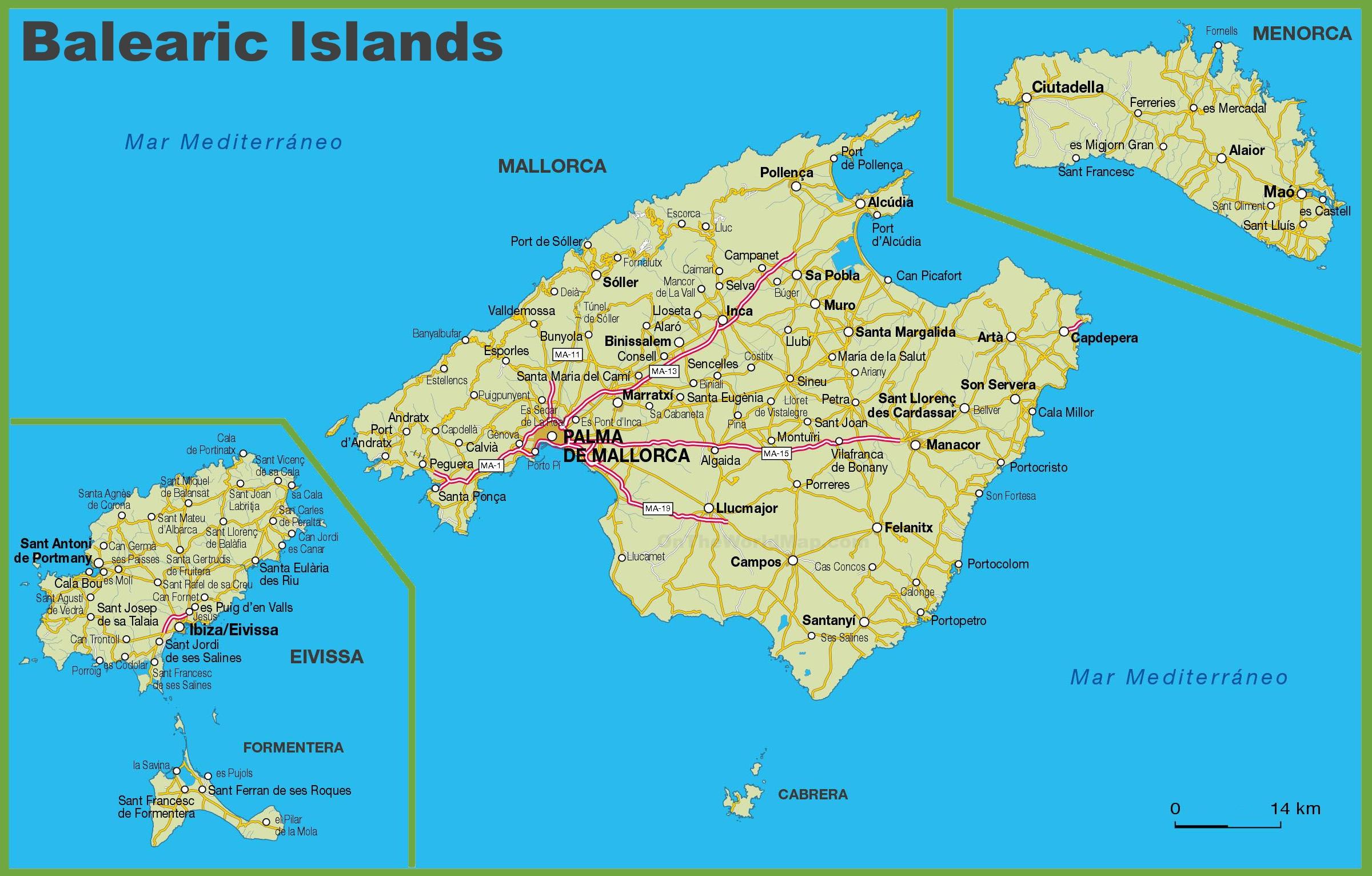 Map Of Balearic Islands Balearic Islands road map Map Of Balearic Islands