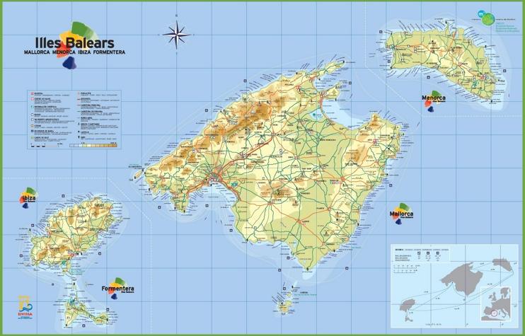 Islas Baleares - Mapa Turistico