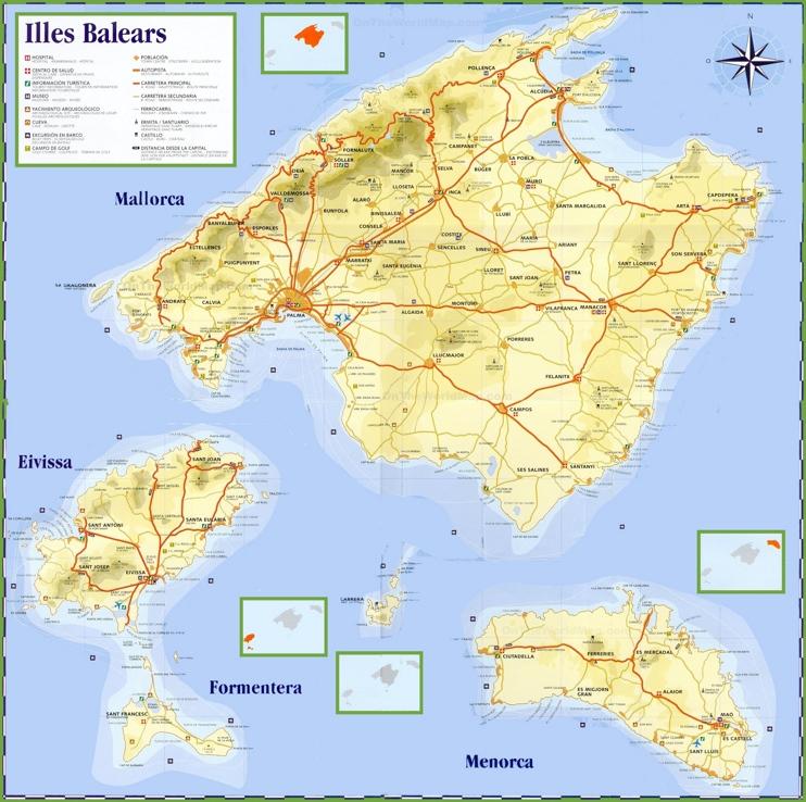 Islas Baleares Viaje Mapa