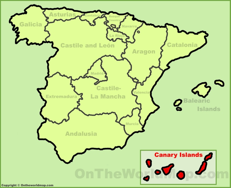 Canary Islands location on the Spain map