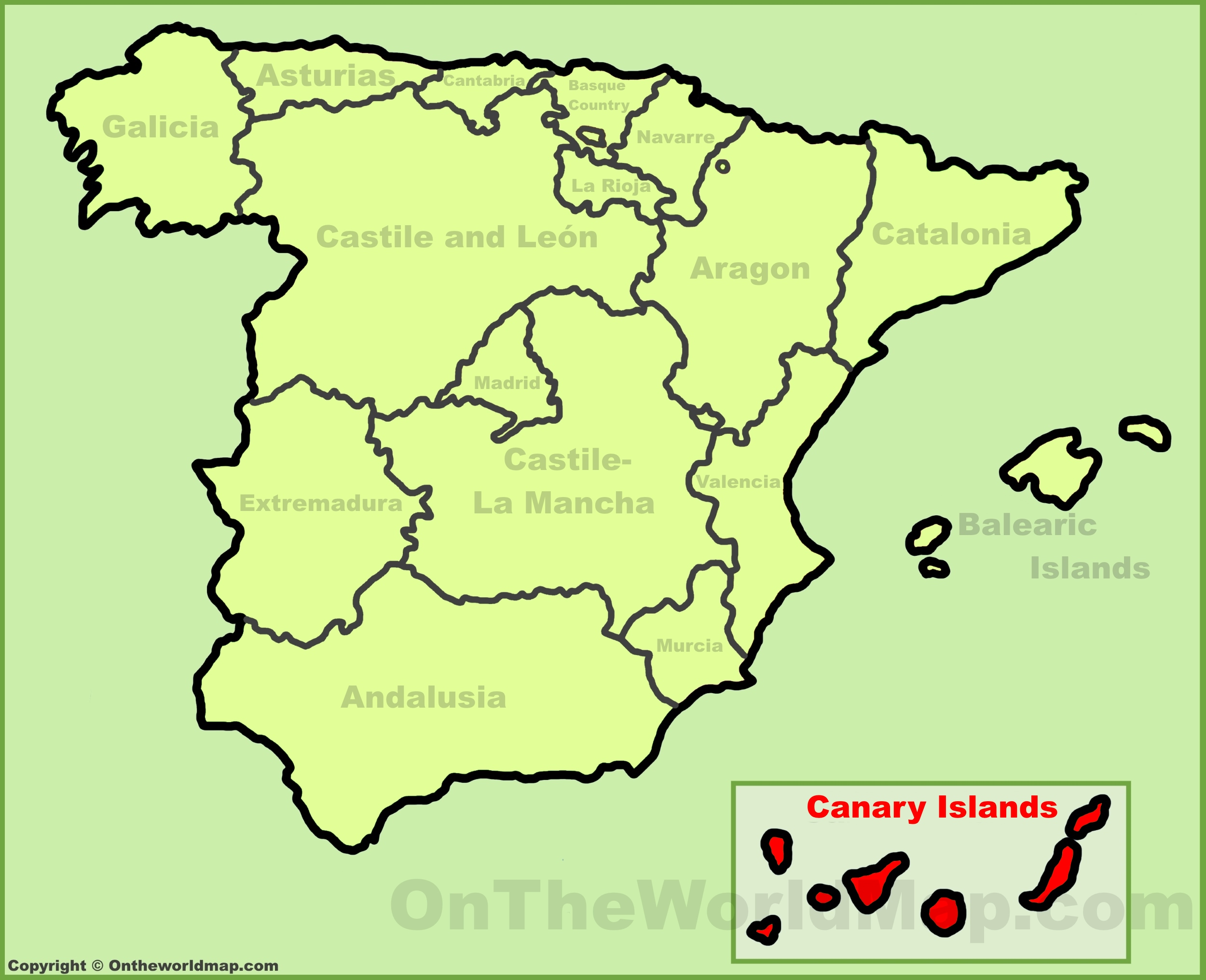 Canary Islands location on the Spain map on