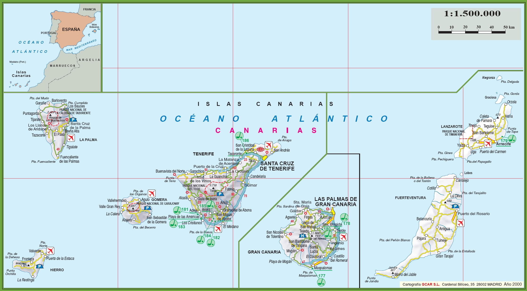 Canary Islands tourist map