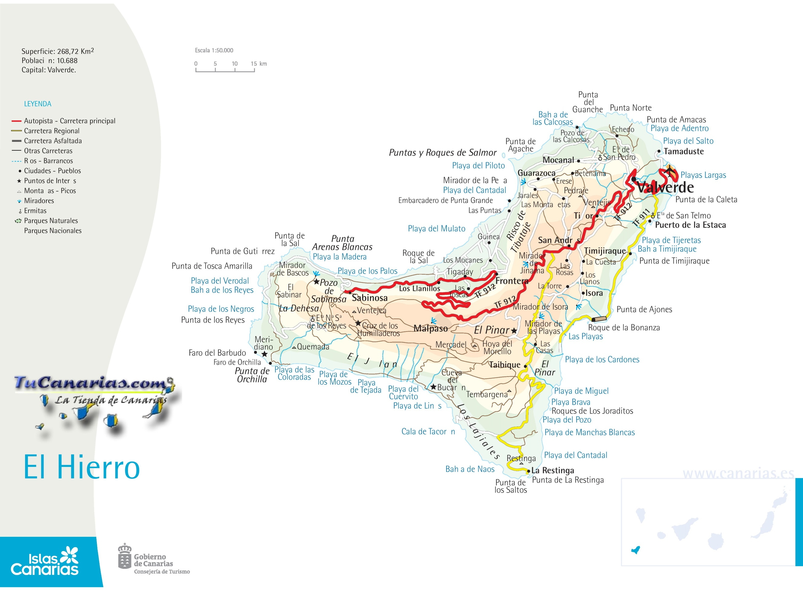 El Hierro Road Map - Monta in us map
