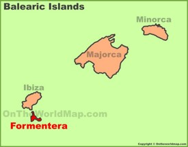 Formentera location on the Balearic islands map