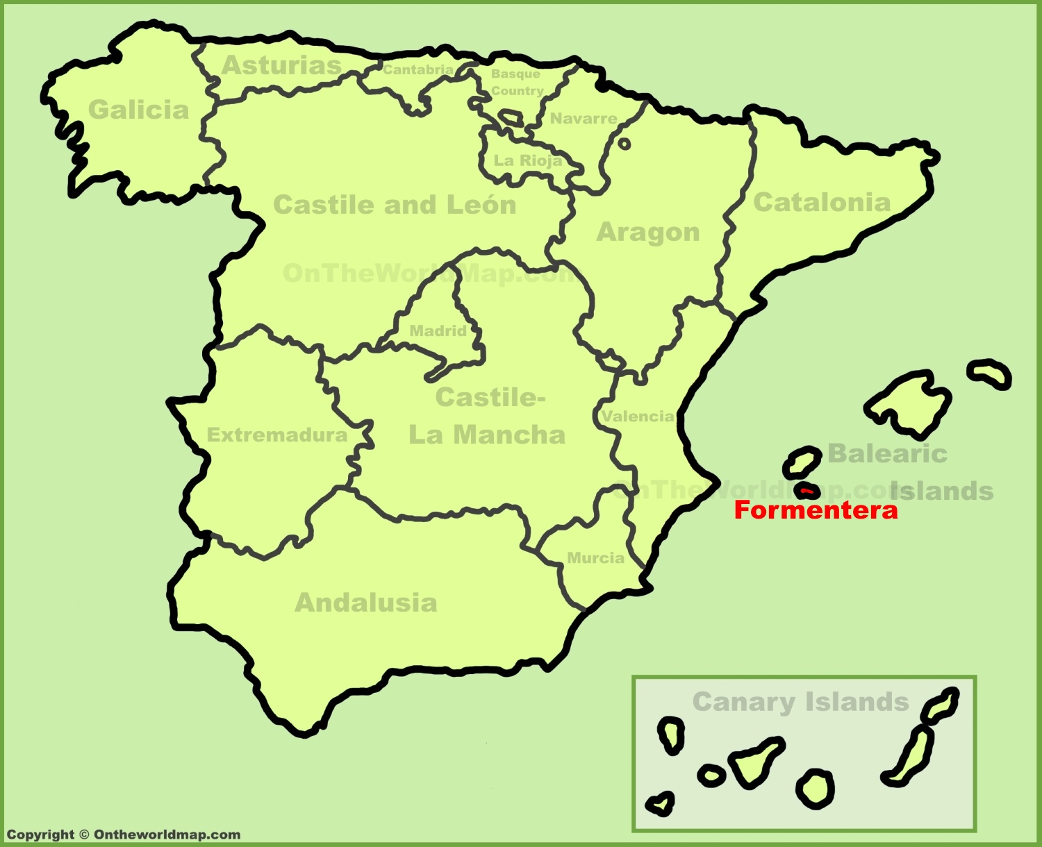 Formentera location on the Spain map