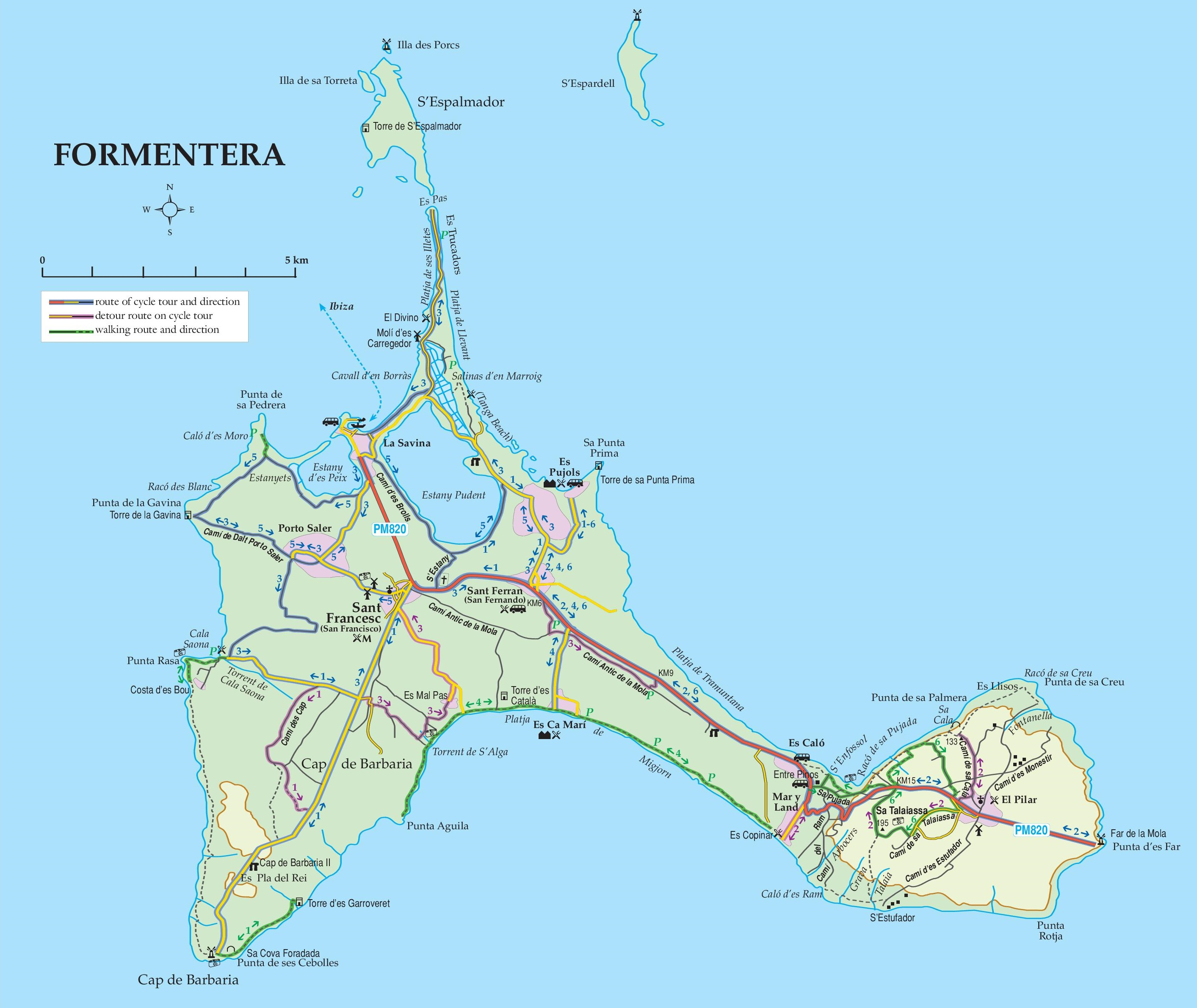 Formentera Maps Balearic Islands Spain Map of Formentera