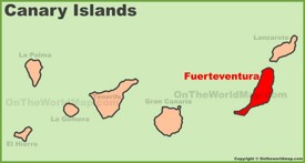 Fuerteventura location on the Canaries map