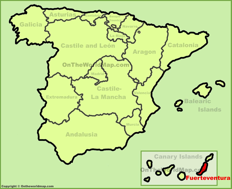 Fuerteventura location on the Spain map