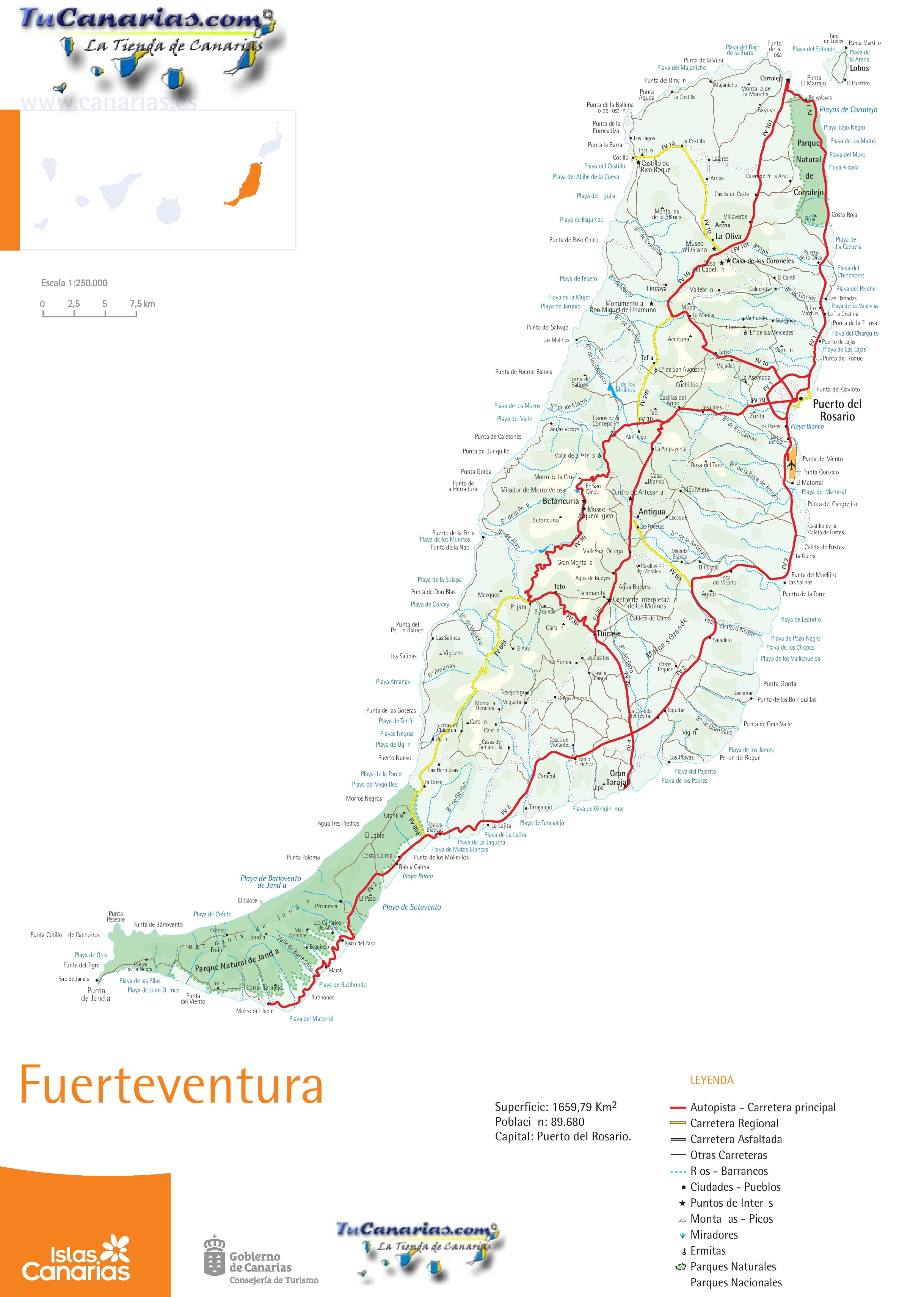 Fuerteventura Road Map - Monta in us map