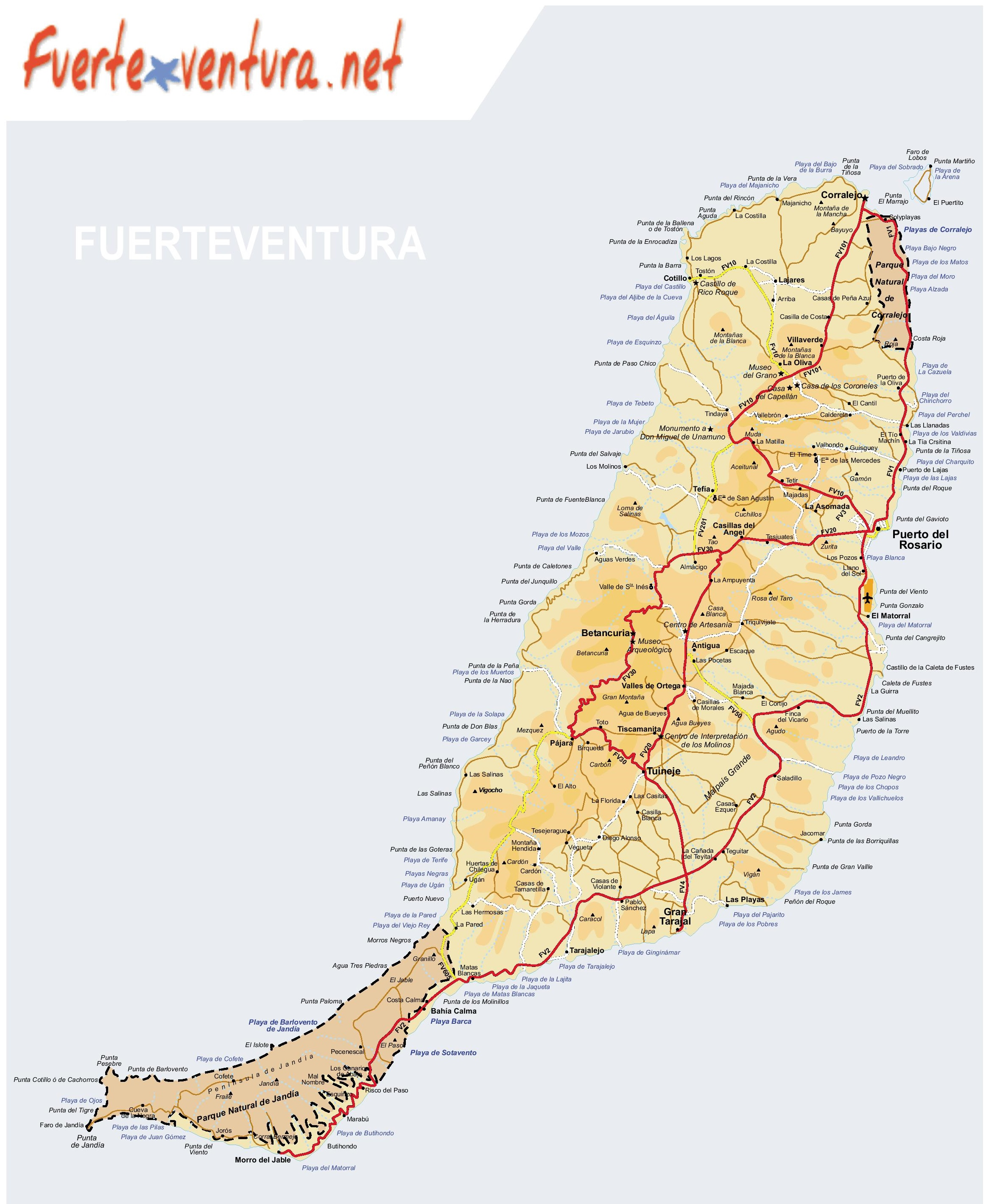 Fuerteventura Island Map Large detailed map of Fuerteventura with beaches