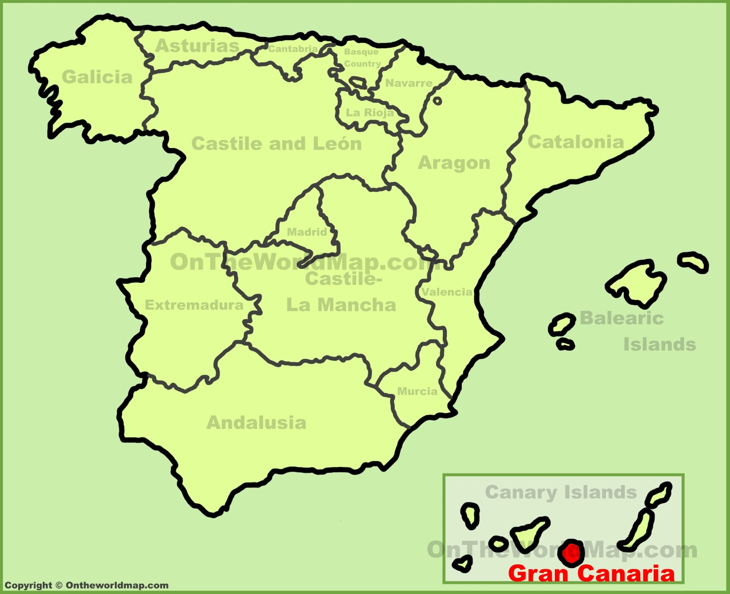 Map Of Spain Gran Canaria.Gran Canaria Location On The Spain Map