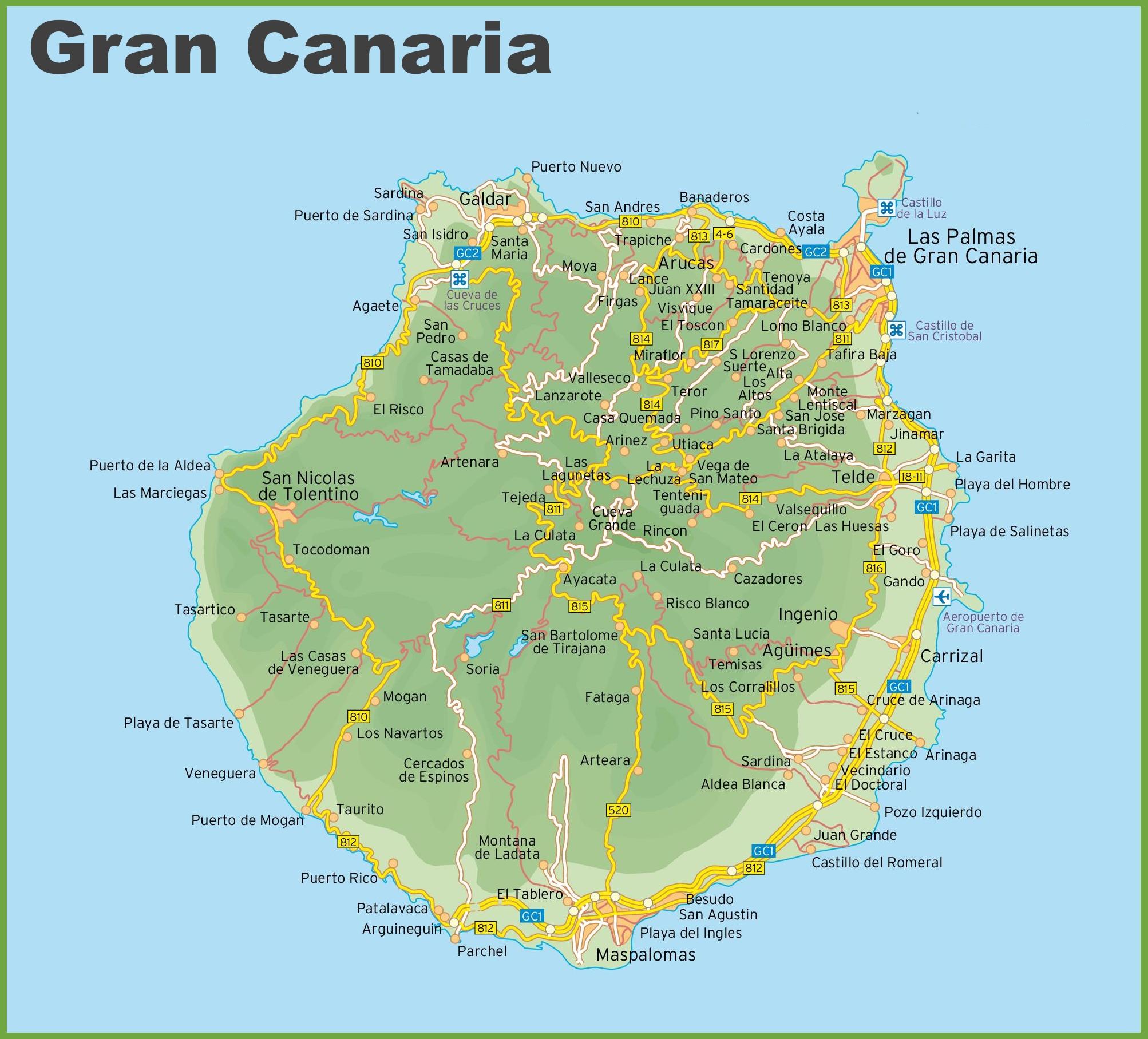 mapa gran canaria Gran Canaria road map  mapa gran canaria