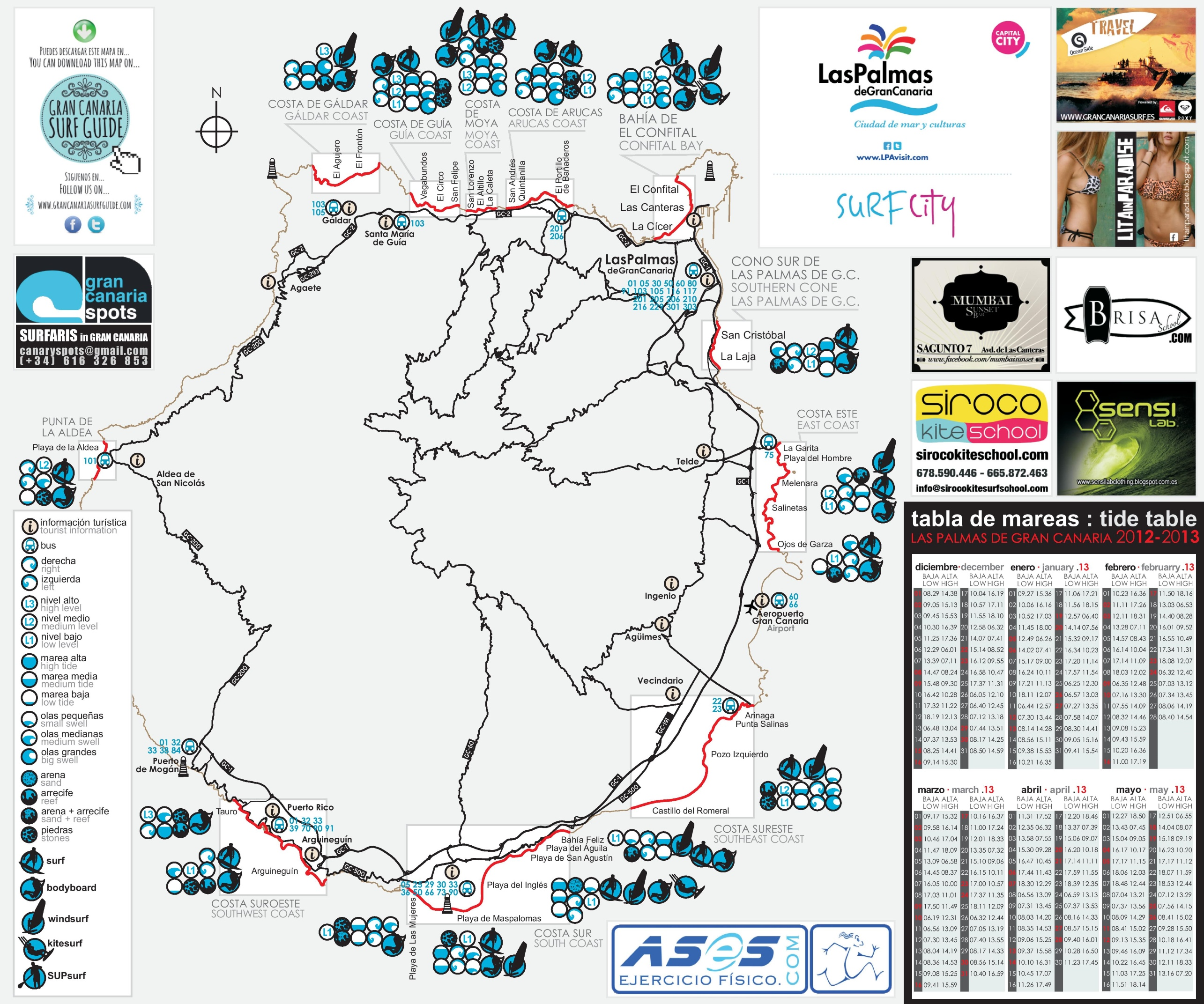 Map Of Spain Gran Canaria.Gran Canaria Surf Map
