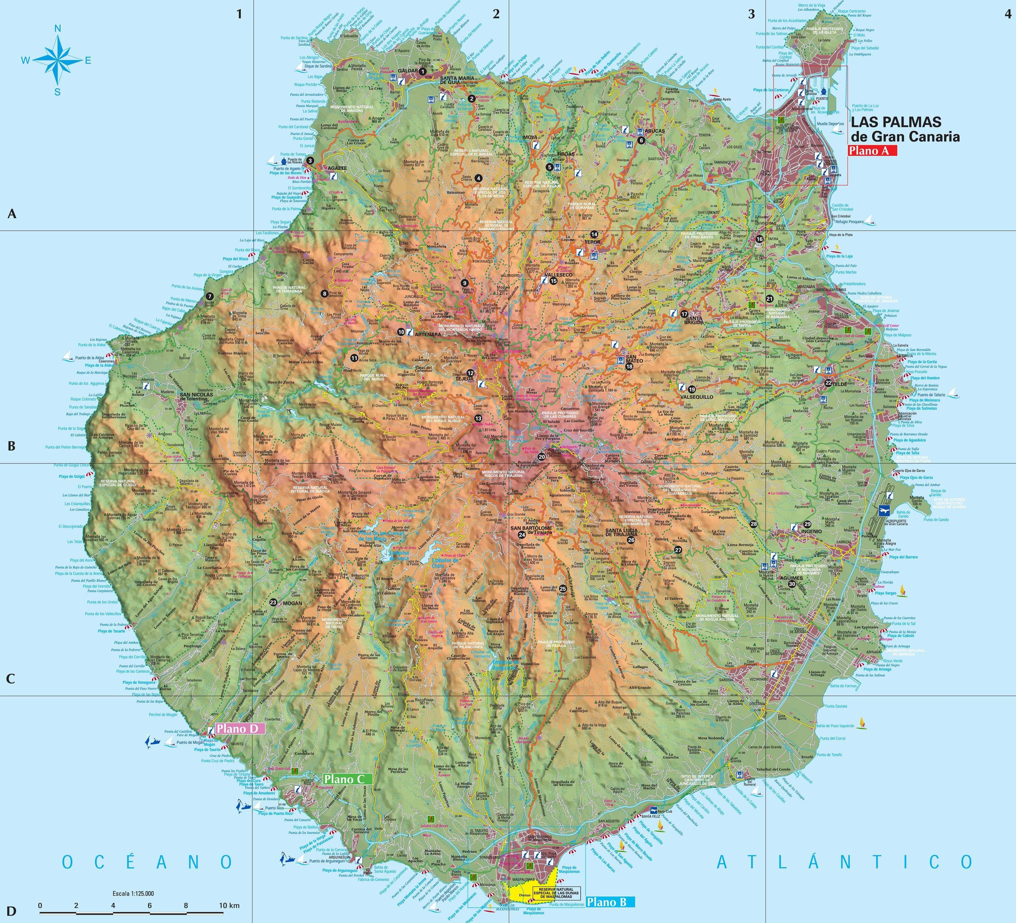 Map Of Spain Gran Canaria.Gran Canaria Tourist Map