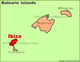 Ibiza location on the Balearic Islands map