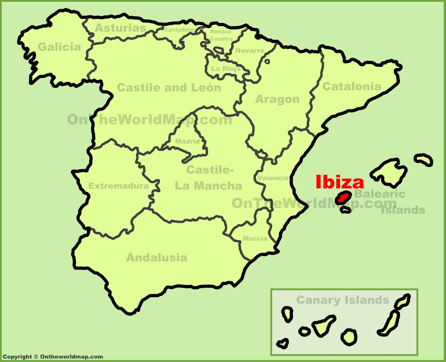 Ibiza location on the Spain map