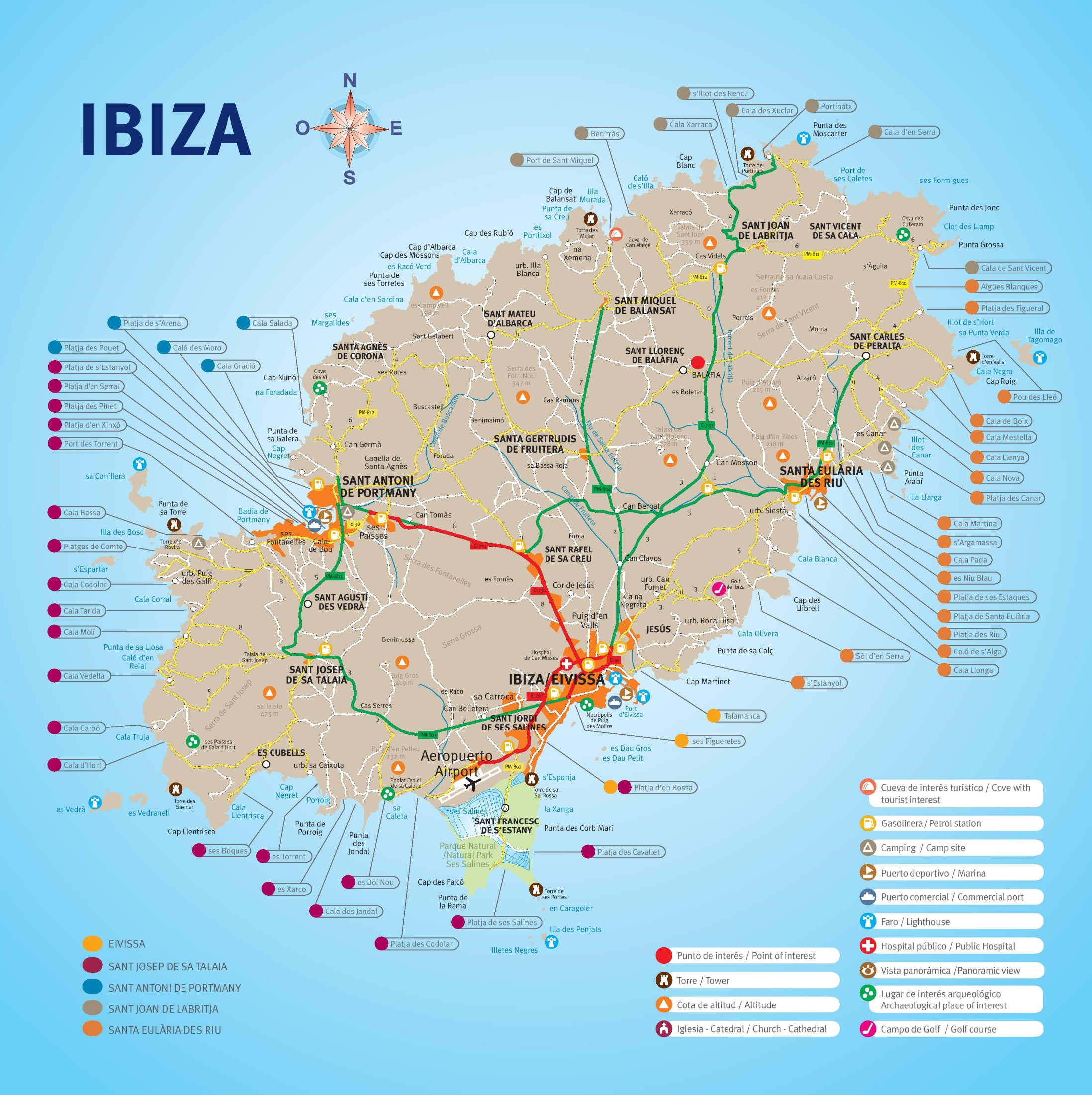 Map Of Ibiza Ibiza resorts map Map Of Ibiza