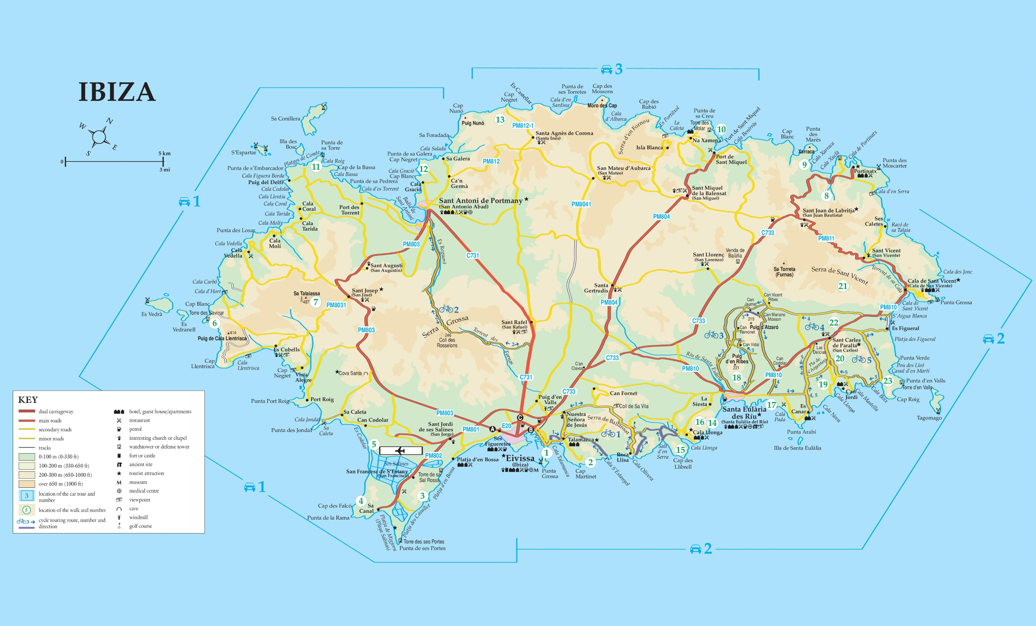 Map Of Ibiza Ibiza road map Map Of Ibiza