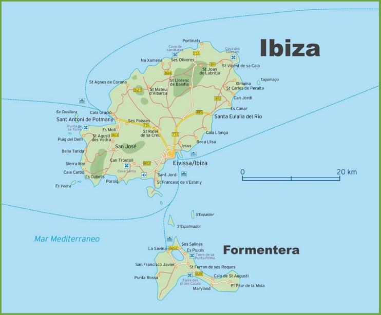 Map of Ibiza and Formentera